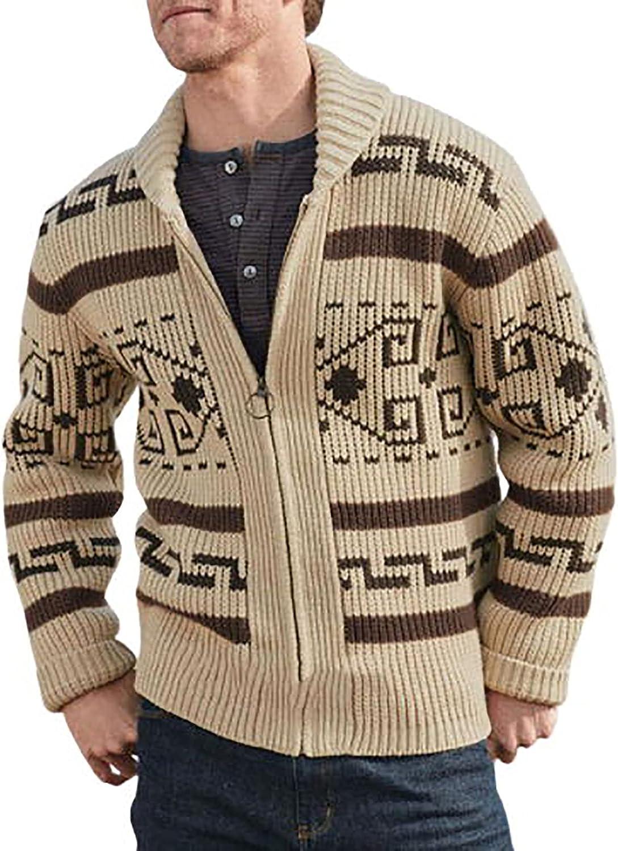 Knitwear Cardigan for Men's Fashion Fall Winter Coat Folk-Custom Flat Knitted Loose Plus Size Windbreaker Jacket