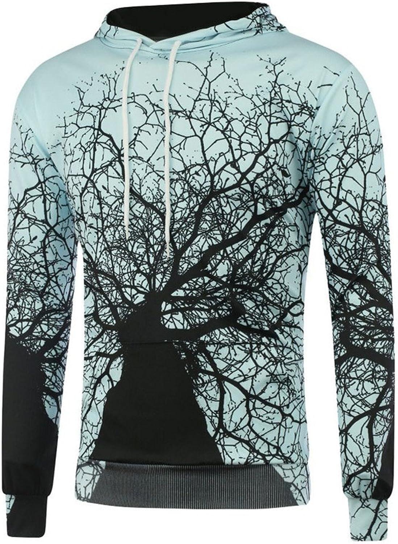 Hipster 3D Sudaderas Hombre Hip Hop Mens Brand Galaxy Tree Print Hooded Sweatshirt Unisex bluee Slim Fit Men Hoody Xxl