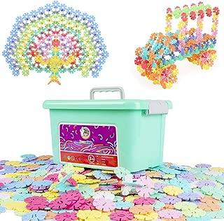 HAPPYMATY Plastic Flakes Snowflakes Building Blocks Digital Macaron Disc Set Children's Educational Toys Interlocking Plastic 500PCS