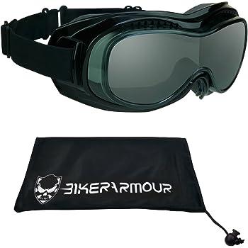 Motorcycle Safety Goggles Fit Over Eyeglasses, Anti Fog Lens Black Frames, Dual Foam