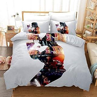 FANLIU Michael Joseph Jackson Conmemorar adolescentes ventilador del hogar Ropa de cama 3 piezas con cierre de cremallera, 100% microfibra famoso cantante personajes en 3D de impresión 1 funda nórdica