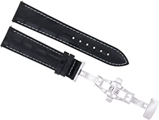 22Mm Leather Strap Band Clasp For Baume Mercier Classima 8692 8733 Black Ws