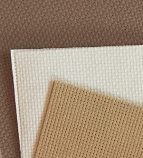 "12"" x 18"" by 3 Pack 14CT Counted Cotton Aida Cloth Cross Stitch Fabric (Natural+Beige Brown+Khaki)"