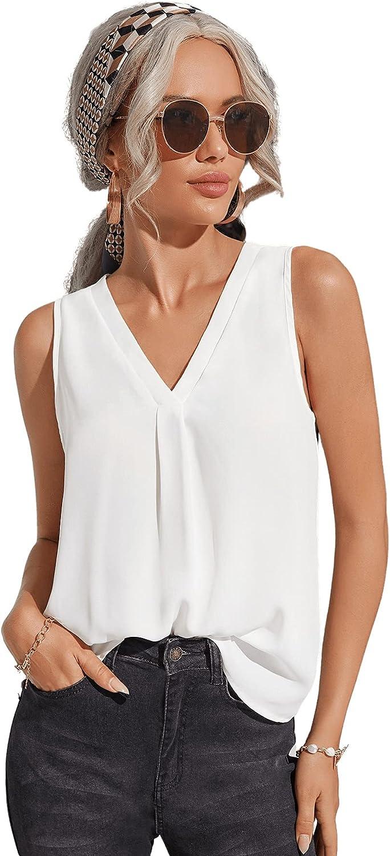 Milumia Women's Elegant Sleeveless V Neck Work Office Pleated Tank Top Shirt
