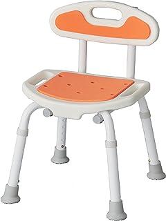 【選べる4色】 サテライト 福浴軽量コンパクトシャワーチェアー 高さ調節6段階 背もたれ付き オレンジ