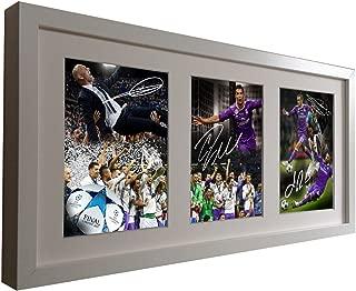 Signed Soccer White Real Madrid CELEBRATION EDITION 2017 Champions League Win. Zinedine Zidane-Cristiano Ronaldo-Gareth Bale-Sergio Ramos Autographed Photo Photographed Picture Frame Football Gift