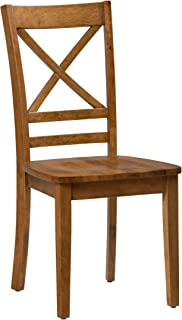 Jofran Simplicity Wood X Back Dining Chair in Honey (Set of 2)