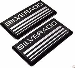 2x PartsTo Silver Cab Emblem Badge Side Roof Pillar Decal Plate for Chevy Silverado 88-98 90 91 Suburban Tahoe C/K Series Blazer