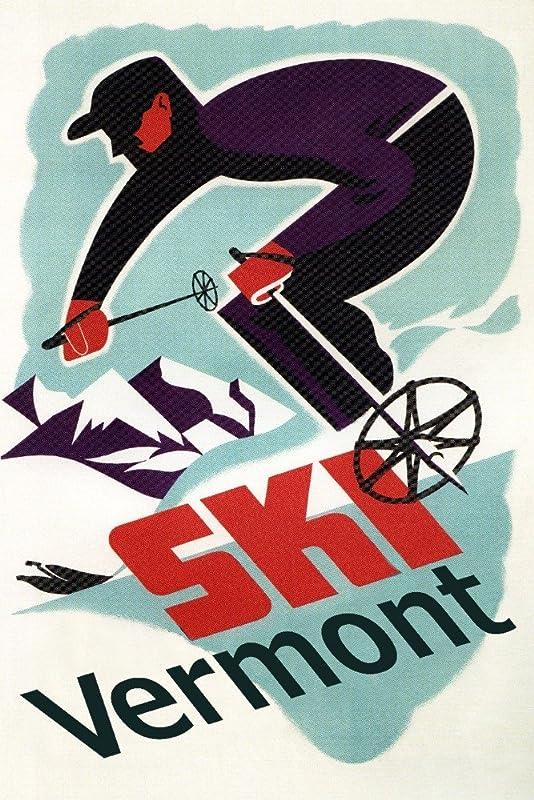 Ski Vermont Retro Skier 12x18 Art Print Wall Decor Travel Poster