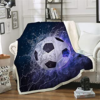 WONGS BEDDING Soccer Throw Blanket Flame Soccer Pattern Throw Blanket for Soccer Fans Teens Boys, Digital Printing Cozy Blanket, A Side Crystal Velvet, B Side White Wool Velvet, 50