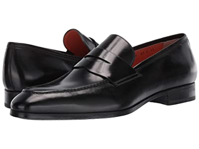 Santoni Gavin Simon Penny Loafer (Black) Men