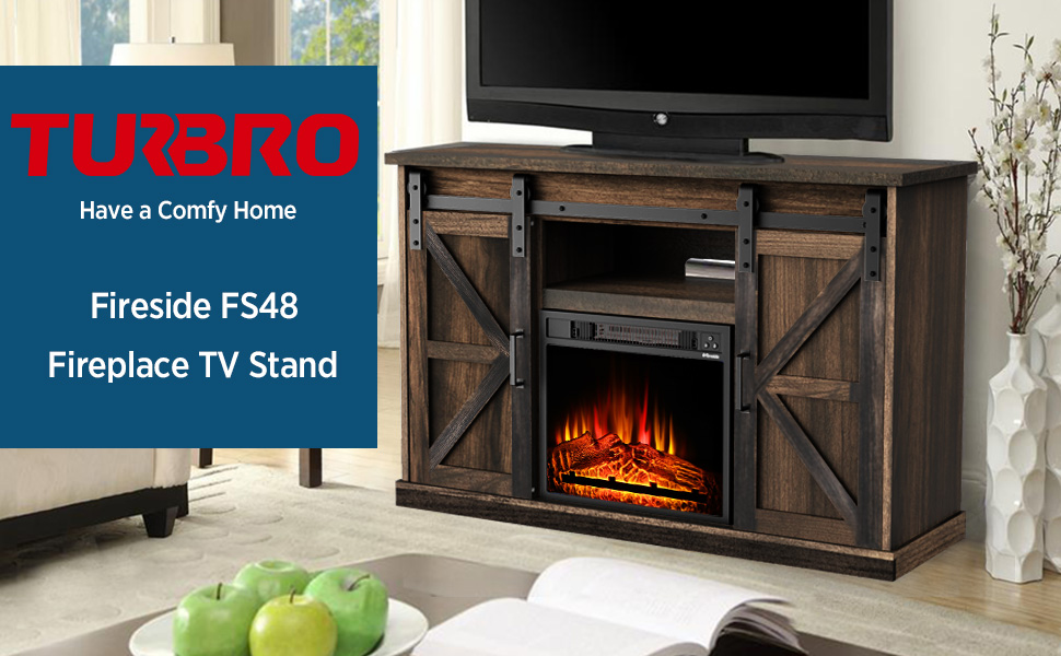 """TURBRO Fireside FS48 TV Stand with Realistic Flames Fireplace, Supports TVs up to 55"""", with Sliding Barn Door, Entertainment Center and Adjustable Shelves for Living Room Storage, Rustic Brown"""