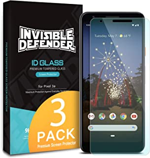 Ringke Invisible Defender Tempered Glass (3 Pack) Designed for Google Pixel 3a Screen Protector 5.6 inch (2019)
