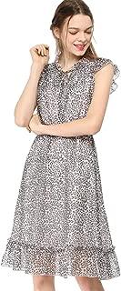 Women's Ruffled Sleeveless Tie V Neck Smocked Waist Leopard Chiffon A-Line Dress
