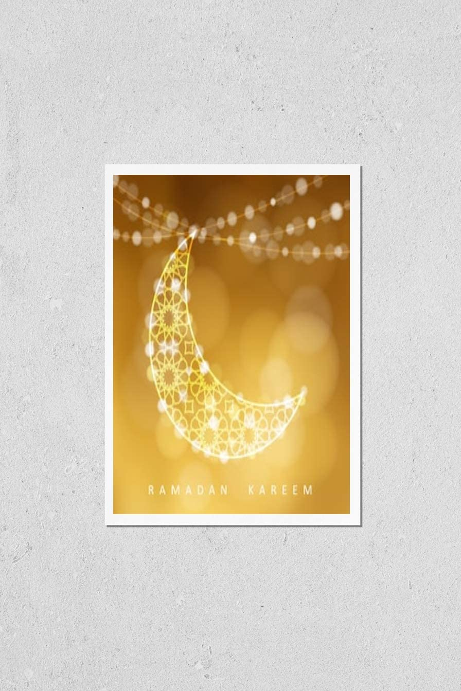 KwikMedia Ranking TOP7 Poster Reproduction of Quality inspection Moon. Golden Arabic Ornamental