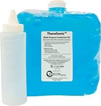 Roscoe Medical LS5255 Therasonic Conductive Gel for Fetal Doppler Baby Heartbeat Monitor, Therapeutic Ultrasound and More – 5L Container with 8-oz. Refillable Bottle, Blue