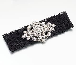 Lillian Rose Jeweled Black Lace Leg Garter Prom Wedding