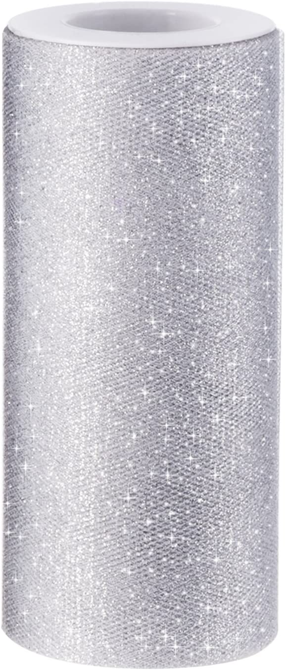 6 inches wide Metallic Silver Tulle Spool 25 yards