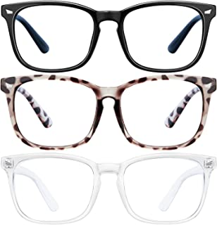 Blue Light Blocking Glasses - 3Pack Computer Game Glasses Square Eyeglasses Frame, Blue Light Blocker Glasses for Women Me...