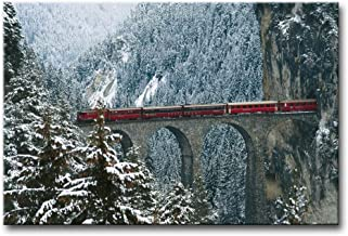Alva443Anne Wall Art Painting Engadin Valley Swiss Alps Bridge With Red Train In Winter Pictures Print On Canvas Giclee Wo...