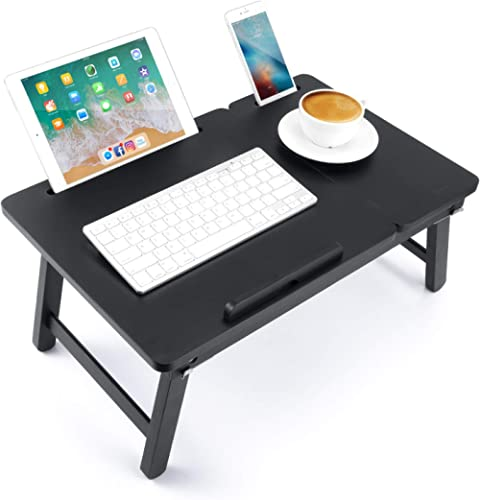 Laptop Desk Newvante Bed Tray Table Foldable Lap Desk Bamboo Breakfast Serving Tray w' Tilting Top Drawer Tablet Slots