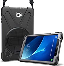 Procase Bumper Samsung Galaxy Tab A 10.1, Carcasa Rugosa con Soporte Rotativo Asa de Mano Correa de Hombro, Funda Robusta Antichoque para Galaxy Tab A 10.1 SM-T580 T585 T587 (Modelo sin S Pen) -Negro