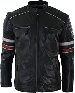 Aviatrix Mens Black Racing Biker Jacket Red White Stripes Real Leather Casual Fit