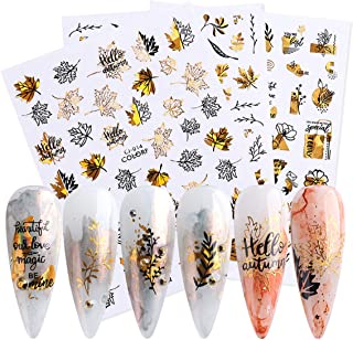 Fall Nail Stickers Autumn Maple Leaves Nail Decals Thanksgiving 3D Nail Art Supplies 9PCS Gold Maple Leaf Butterfly Abstra...