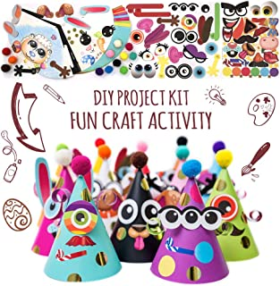 Fun Cone Hats Making Activity Kit, 12 Hats, Pompom & Stickers. Party Favors, DIY Art & Craft Project Set. Decoration for K...