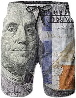 Jist Zovi 100 Dollar Bill Mens Summer Surf Beach Shorts Quick Dry Pants with Pockets
