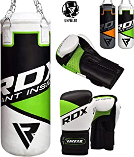 RDX Kids Punch Bag UNFILLED Set Junior Kick Boxing 2FT Heavy MMA Training Youth Gloves Punching Mitts Muay Thai Martial Arts