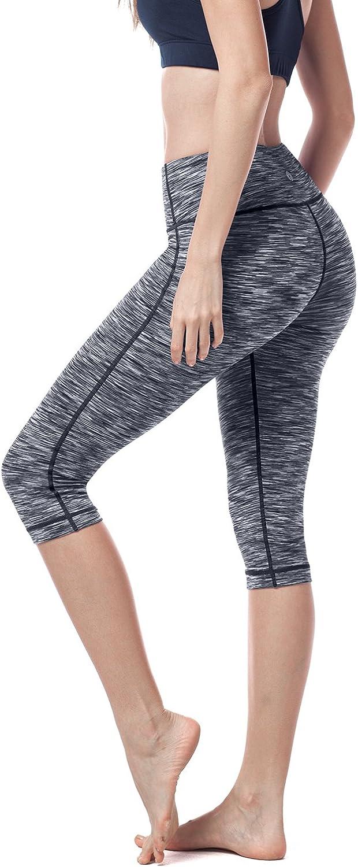Lapasa Women's Sports Capris Non SeeThrough Stretch Yoga Pants Hidden Pockets