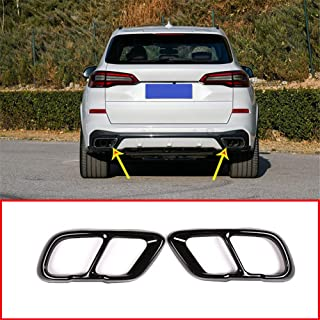 YIWANG Stainless Steel Exhaust Muffler Tail Tip Pipe Trim Cap Cover Frame 2Pcs For BMW X5 G05 X7 2019 2020 Auto Accessorie...