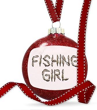 NEONBLOND Christmas Decoration Fishing Girl Fish Fishing Ornament