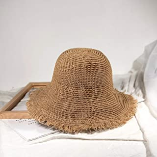 Asdfnfa Sun Hat Sun Hat Women's Straw Hat Summer Anti-UV Folding Beach Hat Big Hat Fishing Hat (Color : Brown)