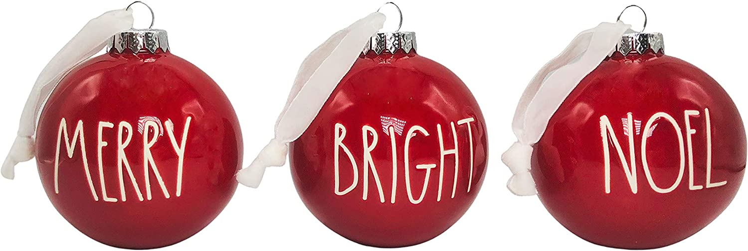 Rae Dunn Set of 3 Red Complete Free Shipping Bright Sales Ball Christmas Noe Ornaments Merry