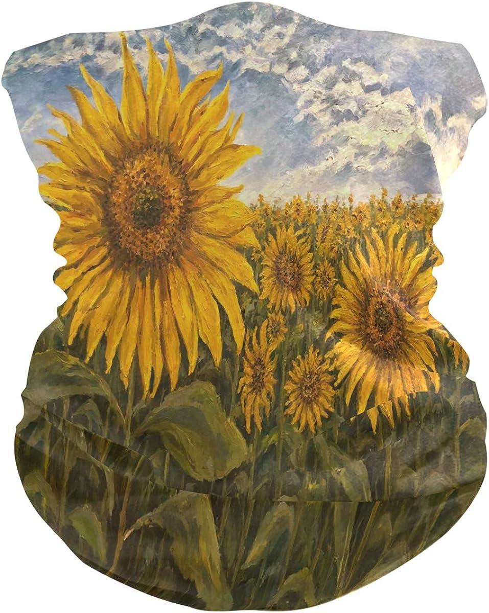 ALAZA Landscape Blossom Sunflower Oil Painting Headwear Magic Scarf Headband Bandana Neck Gaiters Outdoor Sports for Women Men