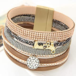 Bracelet Fashion Rhinestone Lucky Letter Multilayer Leather Bracelet Bangles With Wide Magnetic Wristband Jewelry For Women Men Birthday Christmas Present