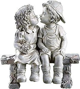 First Kiss Statue Garden Decor - Puppy Love Girl Boy Kissing Yard Mini Figurine - Outdoor Indoor Resin Kissing Couple Sculpture - Home Office Bar Cute Ornaments Desktop Decor