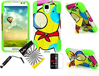 3 items Combo: ITUFFY(TM) LCD Screen Protector Film + Mini Stylus Pen + 2 tone Design Dual Layer KickStand Tuff Impact Armor Hybrid Soft Rubber Silicone Cover Hard Snap On Plastic Case for LG LS740 Volt F90 (Boost Mobile/Virgin Mobile) (Cartoon Dog - Neon Green)