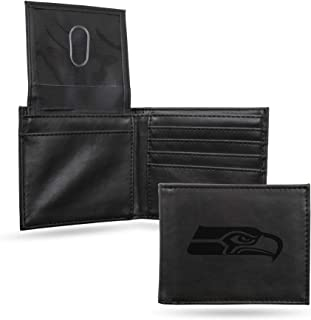 NFL Rico Industries Laser Engraved Billfold Wallet, Seattle Seahawks , 3.5 x 4.25-inches