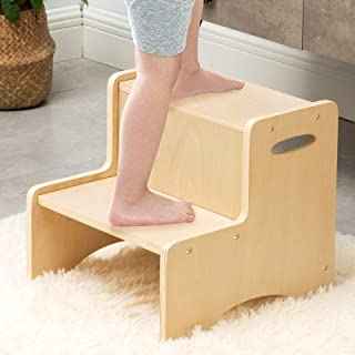 Wooden Toddler Step Stool for Kids, WOOD CITY Bathroom Potty Stool & Kitchen Stool, Two Step Stool for Bedroom, Children's...