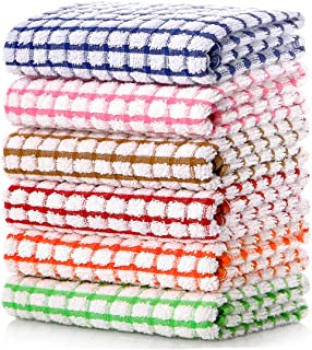 LAZI Kitchen Dish Towels, 16 Inch x 25 Inch Bulk Cotton Kitchen Towels and Dishcloths Set, 6 Pack Dish Cloths for Washing ...