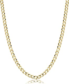 Verona Jewelers 10K Gold Unisex 2.2mm Italian Cuban Curb Link Chain Necklace- 10K Necklaces, 10 Karat Gold Chain, 16