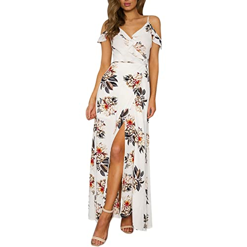 728d7df9cb49 Simplee Apparel Women s Strap Ruffle Cold Shoulder Floral Print Wrap Maxi  Dress Beach