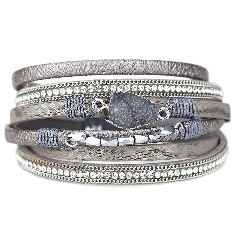 Eivanc Multi-Layer Leather Bracelet -Wrap Bracelet Boho Braided Cuff Bangle Crystal Bead Bracelet Rhinestone Handmade Magnetic Clasp Bracelet for Women