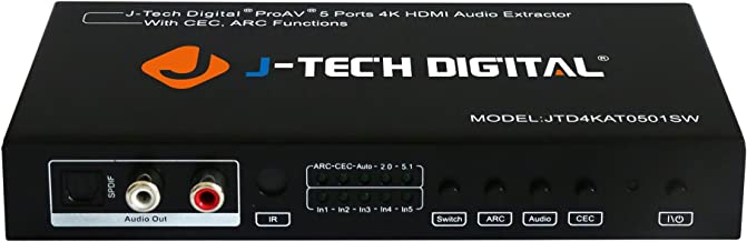 J-Tech Digital 5 Port HDMI Switch & Audio Extractor SPDIF Jack Stereo Outputs with Ultra HD 4K ARC EDID Setting with Control4 Driver Available (5x1 Ultra HD)
