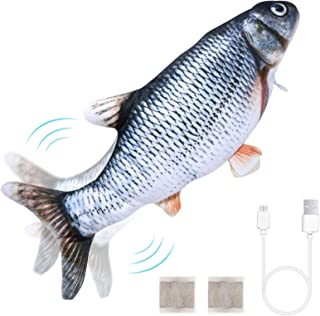 Auihiay Electric Realistic Cat Flopping Fish Toy Dancing Fish Catnip Toys for Cat Exercise, Bit, Chew and Kick and or Kids...