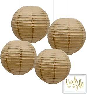 Andaz Press Hanging Paper Lantern Party Decor Kit with Free Party Sign, Kraft Brown, 4-Pack, For Thanksgiving, Fall, Autumn, Harvest, Rustic Country Burlap Colored Wedding Party Ideas Supplies