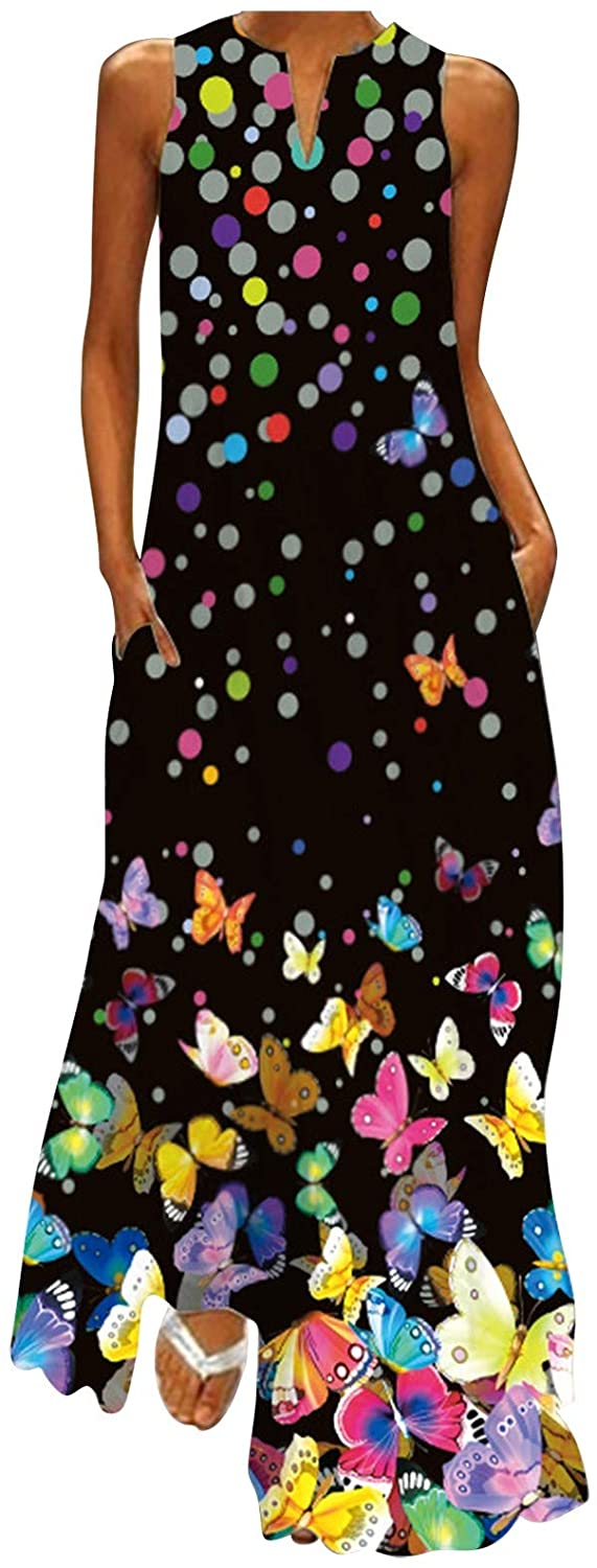 Womens Plus Size Long Dresses Summer Casual Printed Boho V Neck Sleeveless Loose Maxi Skirt with Pockets